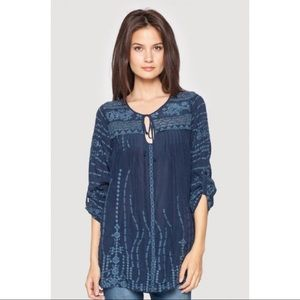 Johnny Was Navy Blue Embroidered Tunic Long Sleeve